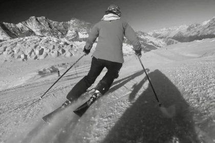 Rhiannon skiing in Saas-Fee
