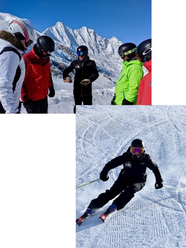 Gruppenunterricht in kleinen Gruppen mit internationalen Skifahrern